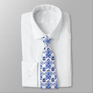 Chic Vintage Dutch Delft Blue Floral Pattern Tie