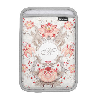 Chic Vintage Floral Damask Monogram iPad Sleeve