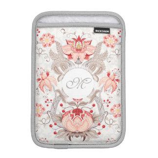 Chic Vintage Floral Damask Monogram iPad Sleeve