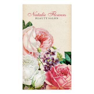 Chic vintage floral elegant pink roses beige paper business card