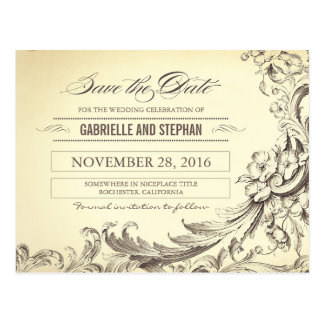 Chic vintage flourishes save the date postcards