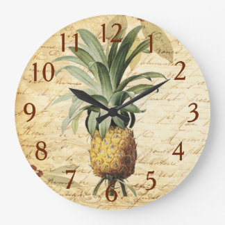 Chic Vintage French Calligraphy Pineapple Art Clock