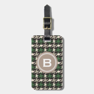 Chic vintage green houndstooth plaid monogram luggage tag