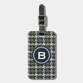 Chic vintage grey green houndstooth plaid monogram luggage tag