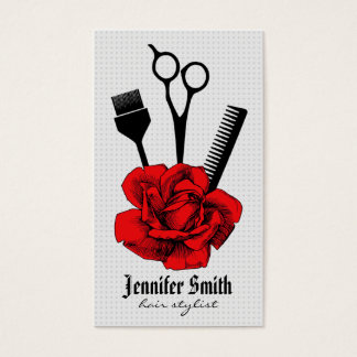 chic vintage hairstylist hair stylist red mod business card