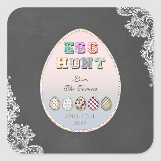 Chic Vintage Lace Chalkboard Easter Egg Hunt Party Square Sticker