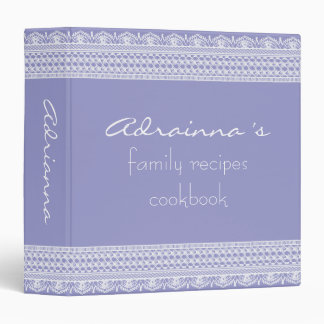 Chic Vintage Lace Lavender Family Recipes Cookbook 3 Ring Binder