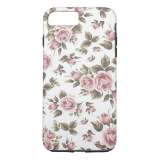 Chic vintage pastel pink brown roses flowers iPhone 8 plus/7 plus case
