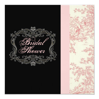 Chic Vintage Pink Floral Bridal Shower Invitation