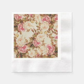 Chic vintage pink white brown roses floral pattern disposable napkin