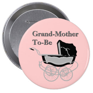 Chic Vintage Pram Grandmother's Baby Shower Button