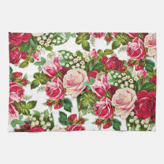 Chic vintage red pink roses flowers pattern kitchen towel