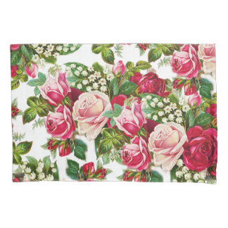 Chic vintage red pink roses flowers pattern pillowcase