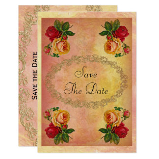 Chic Vintage Roses 50th Birthday Save The Date Card