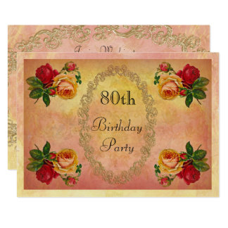 Chic Vintage Roses 80th Birthday Card