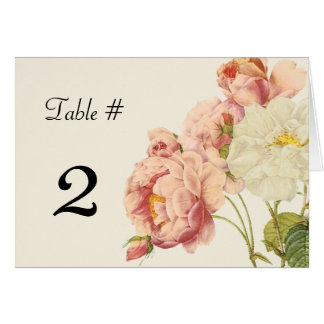 Chic Vintage Roses Wedding Table Number Card