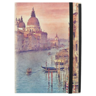 "Chic Vintage Venice Canal Pastel Watercolor Art iPad Pro 12.9"" Case"