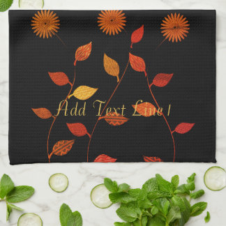Chic Warm Fall Palette  Personalized Black  Towel