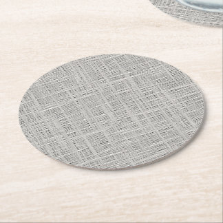 Chic Warm Gray Faux Jute Fabric Pattern Round Paper Coaster
