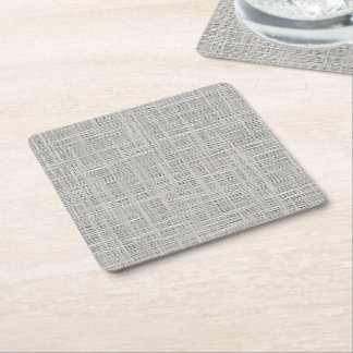 Chic Warm Gray Faux Jute Fabric Pattern Square Paper Coaster