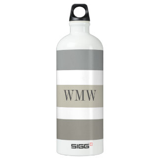 CHIC WATER BOTTLE_BOLD STRIPES_ TAUPE/GREY/WHITE WATER BOTTLE