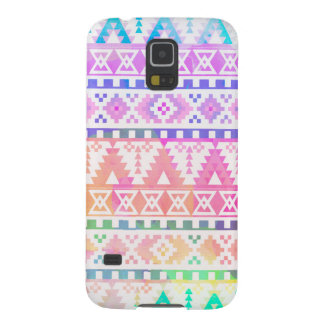 Chic Watercolor Aztec Tribal Rainbow Pattern Cases For Galaxy S5