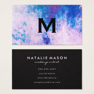 Chic Watercolor blue purple with Monogram Business Card