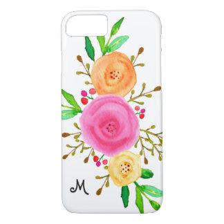 Chic Watercolor Botanical Floral Monogram Case-Mate iPhone Case