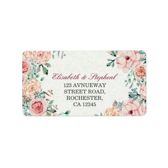 Chic Watercolor Botanical Floral Wedding Address