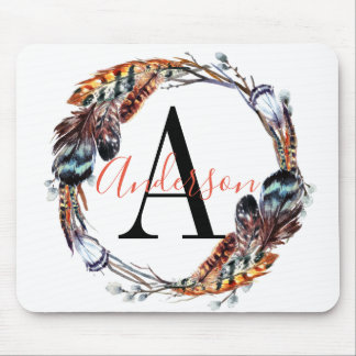 Chic Watercolor Feather Wreath Monogram Mouse Pad