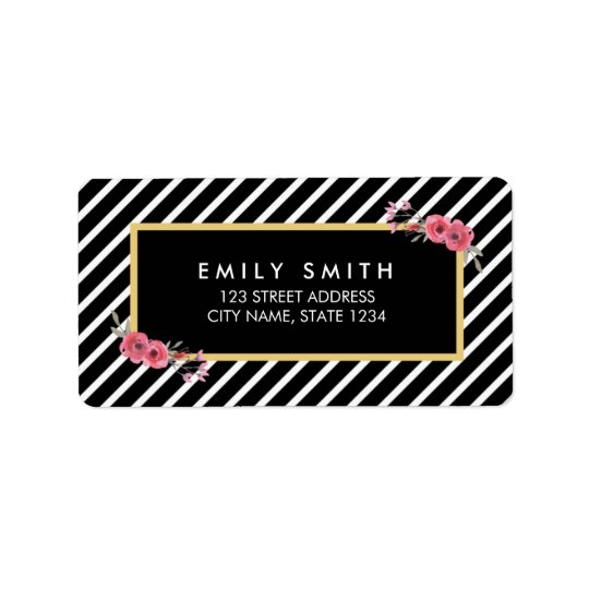 Chic Watercolor Floral Black and White Stripes Label