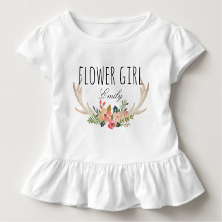 Chic Watercolor Floral Deer Horn /Flower Girl-11 Toddler T-shirt