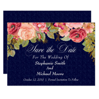Chic Watercolor Floral Fall Wedding Save The Date Card