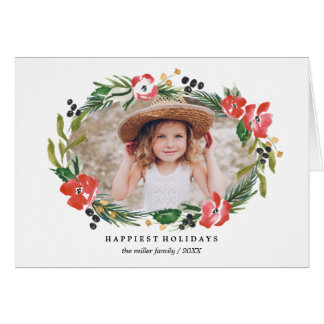 Chic Watercolor Floral Holiday Photo Greeting Card