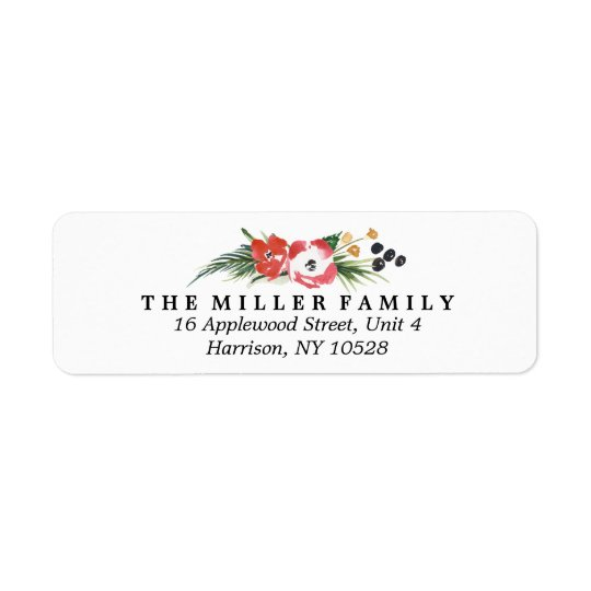 Chic Watercolor Floral Holiday Return Address