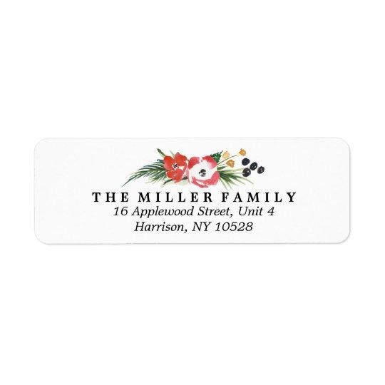 Chic Watercolor Floral Holiday Return Address Return Address Label
