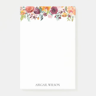 Chic Watercolor Floral Personalized Post-it Notes