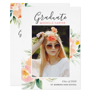 Chic Watercolor Floral Photo Graduation Party Card