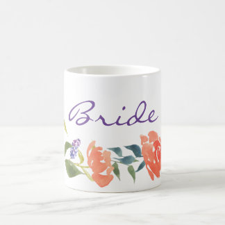 Chic  Watercolor Floral Red Lavender Bride Coffee Mug