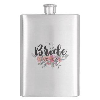 Chic Watercolor Floral Wedding Bride Hip Flask