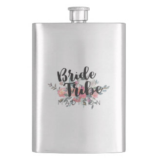 Chic Watercolor Floral Wedding Bride Tribe Hip Flask