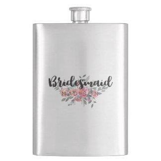 Chic Watercolor Floral Wedding Bridesmaid Hip Flask