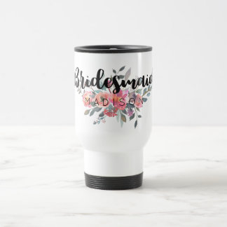 Chic Watercolor Floral Wedding Bridesmaid Travel Mug