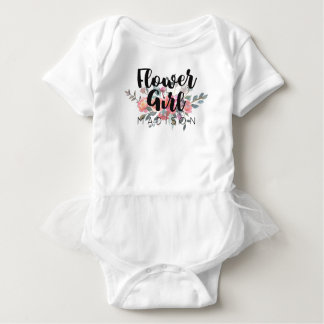 Chic Watercolor Floral Wedding Flower Girl Baby Bodysuit