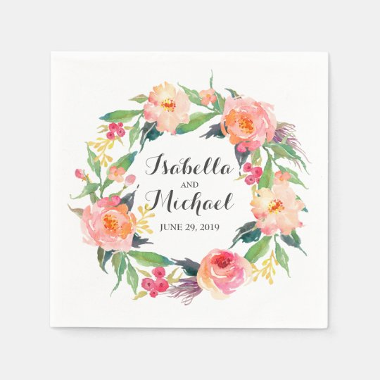 Chic Watercolor Floral Wedding Paper Napkins