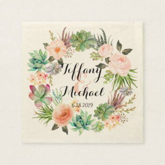 Chic Watercolor Floral Wreath Wedding-4 Paper Napkins