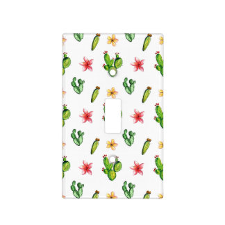Chic Watercolor Flowering Cactus Patterned Light Switch Cover