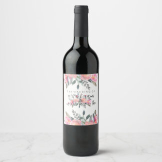 Chic Watercolor Peony Floral Wedding Monogram Wine Label