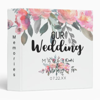 Chic Watercolor Peony Floral Wedding Photo Album 3 Ring Binder