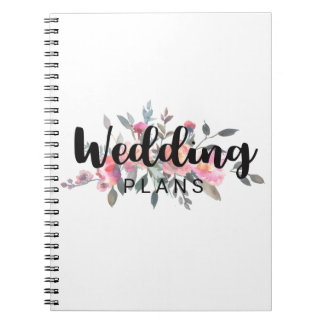 Chic Watercolor Peony Floral Wedding Planner Spiral Notebook